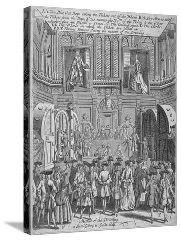 Drawing of the State Lottery in the Guildhall, City of London, 1739--Stretched Canvas Print