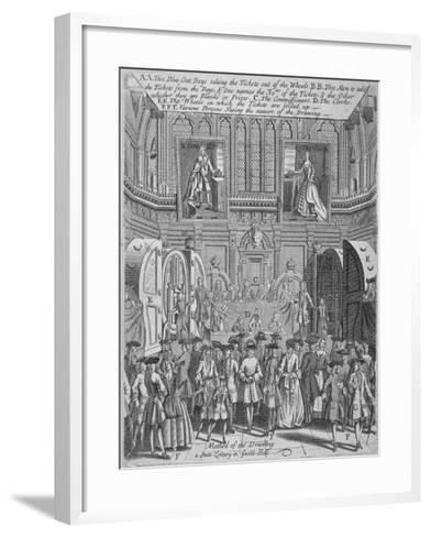Drawing of the State Lottery in the Guildhall, City of London, 1739--Framed Art Print