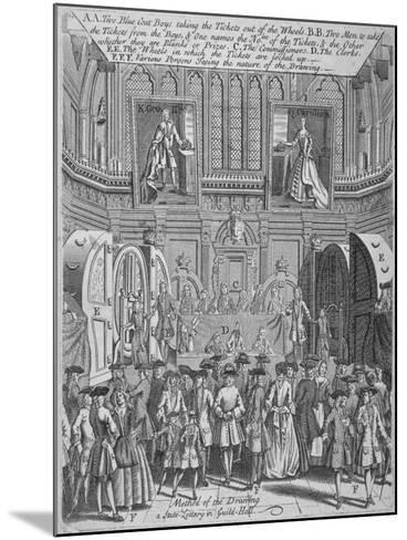 Drawing of the State Lottery in the Guildhall, City of London, 1739--Mounted Giclee Print