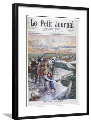 People Stranded on Ice Floes, Finland, 1894--Framed Art Print