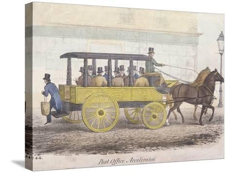 Post Office Accelerator with Passengers, Holborn, London, C1830-JR Burfoot-Stretched Canvas Print