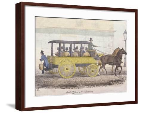 Post Office Accelerator with Passengers, Holborn, London, C1830-JR Burfoot-Framed Art Print