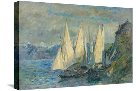 Barques Aux Grandes Voiles Sur Le Lac L?man ? Meillerie En Haute-Savoie-Albert Lebourg-Stretched Canvas Print