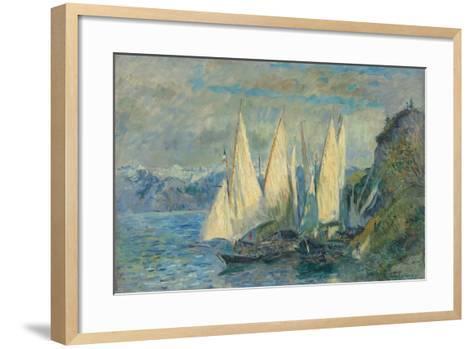 Barques Aux Grandes Voiles Sur Le Lac L?man ? Meillerie En Haute-Savoie-Albert Lebourg-Framed Art Print