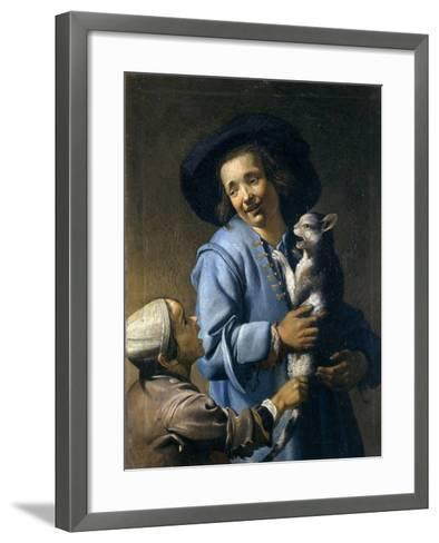 Youths Playing with the Cat, 1620-1625-Abraham Bloemaert-Framed Art Print