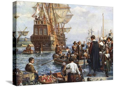 Pilgrim Fathers Boarding the Mayflower--Stretched Canvas Print