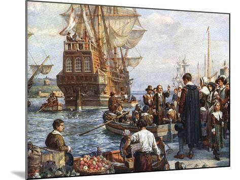 Pilgrim Fathers Boarding the Mayflower--Mounted Giclee Print
