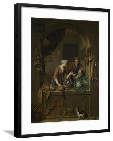 A Woman and a Fish-Pedlar in a Kitchen, 1713-Willem Van Mieris-Framed Art Print