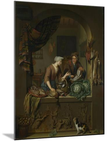 A Woman and a Fish-Pedlar in a Kitchen, 1713-Willem Van Mieris-Mounted Giclee Print