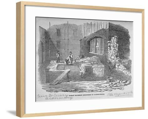 Roman Pavement Disovered in Cannon Street, City of London, 1852--Framed Art Print