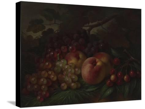 Peaches, Grapes and Cherries, Ca 1860-1870-George Henry Hall-Stretched Canvas Print