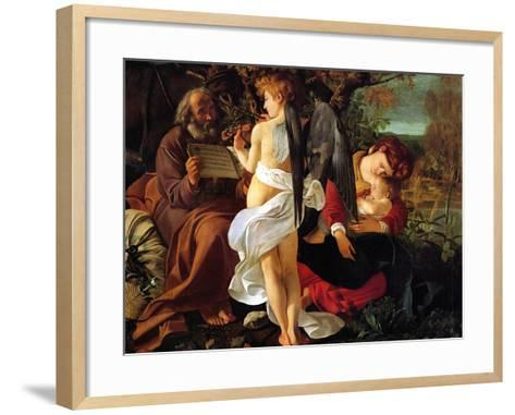Rest on the Flight into Egypt, Ca. 1597-Caravaggio-Framed Art Print