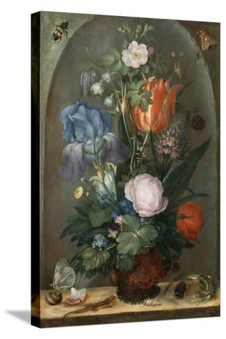 Flower Still Life with Two Lizards, 1603-Roelant Savery-Stretched Canvas Print