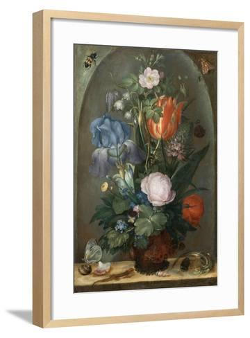 Flower Still Life with Two Lizards, 1603-Roelant Savery-Framed Art Print
