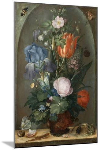 Flower Still Life with Two Lizards, 1603-Roelant Savery-Mounted Giclee Print