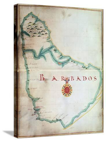 Map of Barbados, 1683--Stretched Canvas Print
