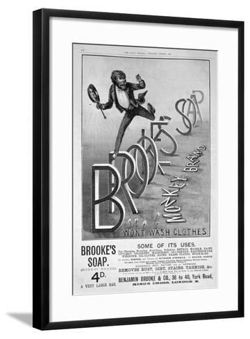 Advert for Brooke's Monkey Brand Soap, 1889--Framed Art Print