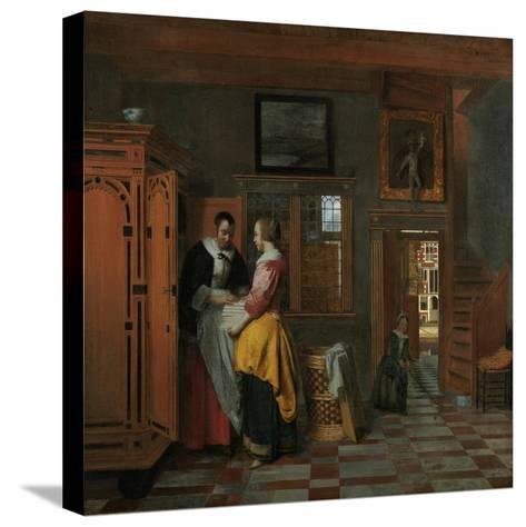 Interior with Women Beside a Linen Chest, 1663-Pieter de Hooch-Stretched Canvas Print