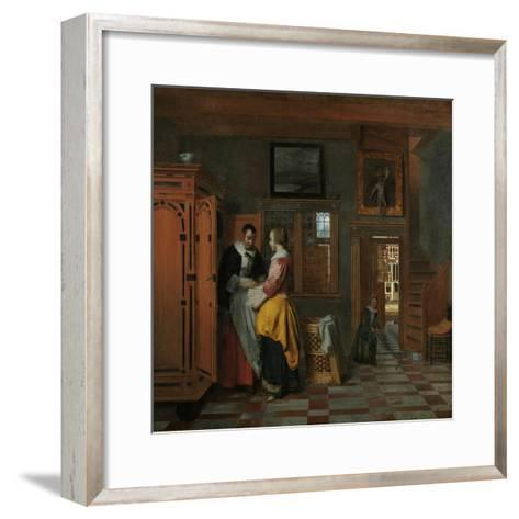 Interior with Women Beside a Linen Chest, 1663-Pieter de Hooch-Framed Art Print