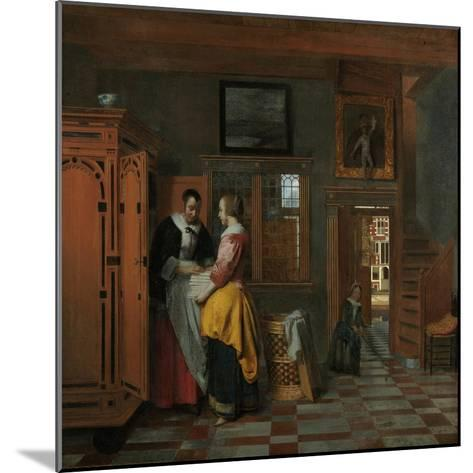 Interior with Women Beside a Linen Chest, 1663-Pieter de Hooch-Mounted Giclee Print
