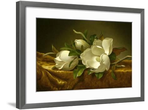 Magnolias on Gold Velvet Cloth, C. 1889-Martin Johnson Heade-Framed Art Print