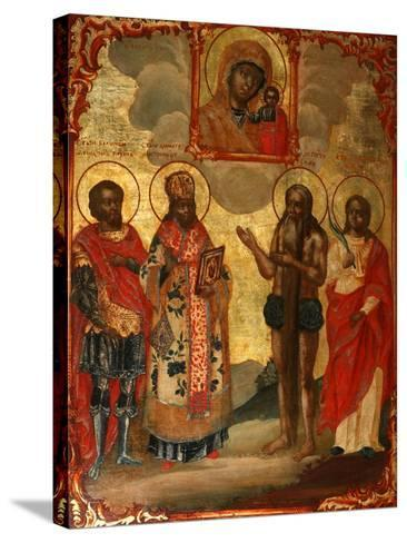 The Selected Saints before the Icon of Our Lady of Kazan, Late 18th Cent.-Evfimy Denisov-Stretched Canvas Print