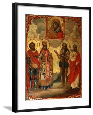 The Selected Saints before the Icon of Our Lady of Kazan, Late 18th Cent.-Evfimy Denisov-Framed Art Print
