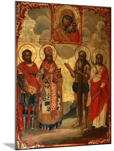 The Selected Saints before the Icon of Our Lady of Kazan, Late 18th Cent.-Evfimy Denisov-Mounted Giclee Print