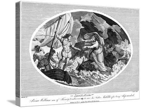 Prince William Son of Henry I, Endeavouring to Save His Sister Matilda after Bing Shipwrecked, 1792--Stretched Canvas Print