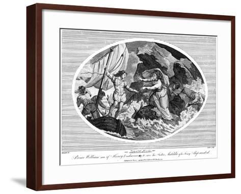 Prince William Son of Henry I, Endeavouring to Save His Sister Matilda after Bing Shipwrecked, 1792--Framed Art Print