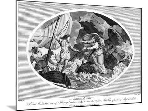 Prince William Son of Henry I, Endeavouring to Save His Sister Matilda after Bing Shipwrecked, 1792--Mounted Giclee Print