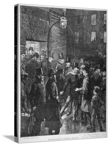 Scene at Whitecross Street Prison Showing a Release of Prisoners, London, 1870--Stretched Canvas Print