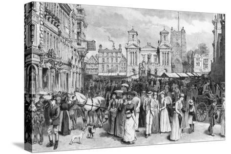 The Market Place, Kingston Upon Thames, Surrey, 1890--Stretched Canvas Print