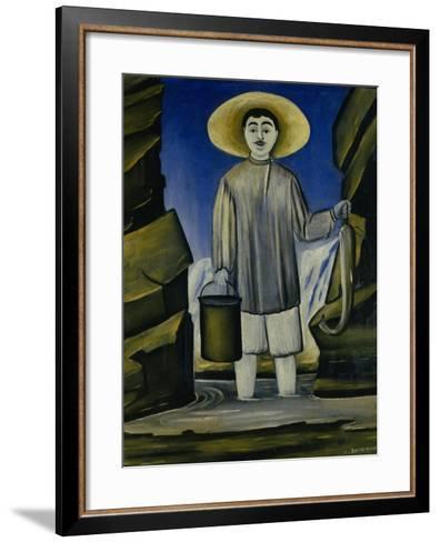 Fisherman Among the Rocks, 1906-Niko Pirosmani-Framed Art Print
