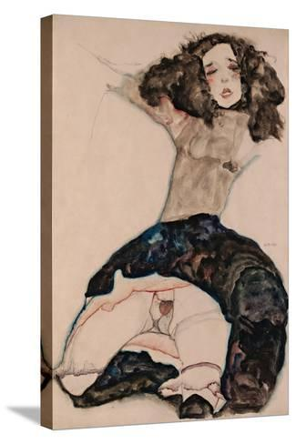 Black-Haired Girl with Lifted Skirt, 1911-Egon Schiele-Stretched Canvas Print