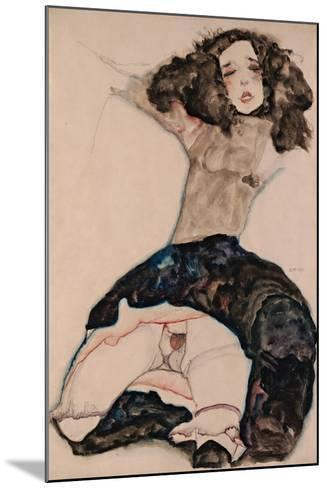 Black-Haired Girl with Lifted Skirt, 1911-Egon Schiele-Mounted Giclee Print