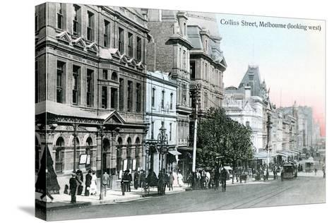 Looking West Along Collins Street, Melbourne, Australia, 1912--Stretched Canvas Print