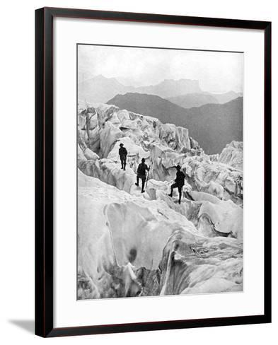 Climbing Through the Bossons Icefall on the Way Up Mont Blanc, Switzerland, Early 20th Century--Framed Art Print