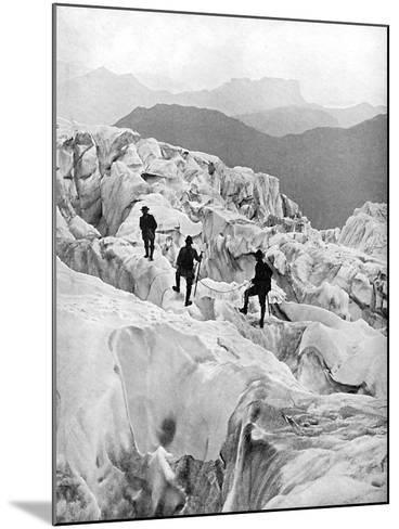 Climbing Through the Bossons Icefall on the Way Up Mont Blanc, Switzerland, Early 20th Century--Mounted Giclee Print