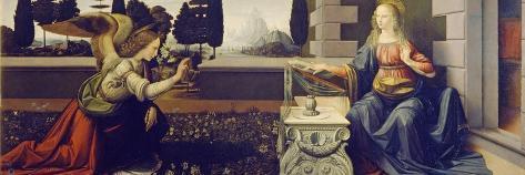 The Annunciation, Ca 1471-1472-Leonardo da Vinci-Stretched Canvas Print