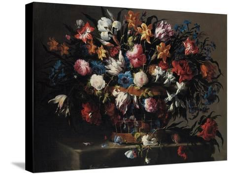 Small Basket of Flowers, 1671-Juan de Arellano-Stretched Canvas Print