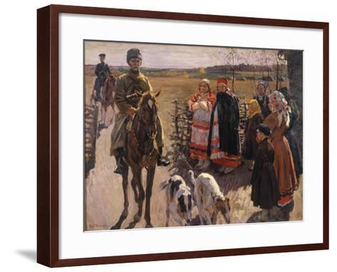 Huntsmen with Borzois, 1913-Sergei Arsenyevich Vinogradov-Framed Art Print