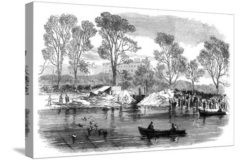 Draining the Serpentine River, Hyde Park, London, 1869--Stretched Canvas Print