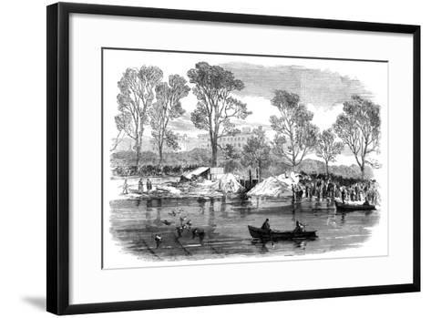 Draining the Serpentine River, Hyde Park, London, 1869--Framed Art Print