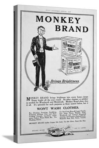 Advert for Brooke's Monkey Brand Soap, 1918--Stretched Canvas Print