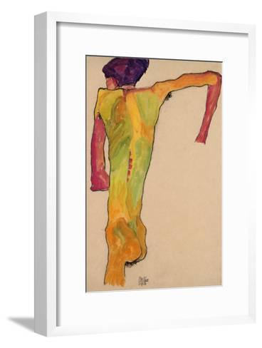 Male Nude, Propping Himself Up, 1910-Egon Schiele-Framed Art Print