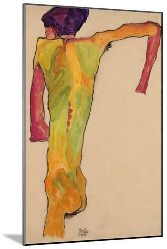 Male Nude, Propping Himself Up, 1910-Egon Schiele-Mounted Giclee Print