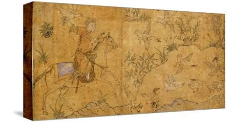 Mounted Falconer Hunting Ducks, C.1420--Stretched Canvas Print