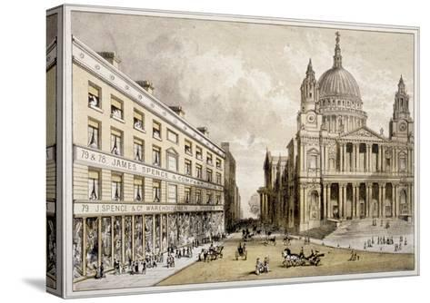 Premises of James Spence and Co, Warehousemen, 76-79 St Paul's Churchyard, City of London, 1850--Stretched Canvas Print