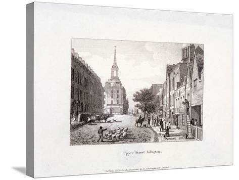 Upper Street, Islington, London, 1819-Augustus Charles Pugin-Stretched Canvas Print
